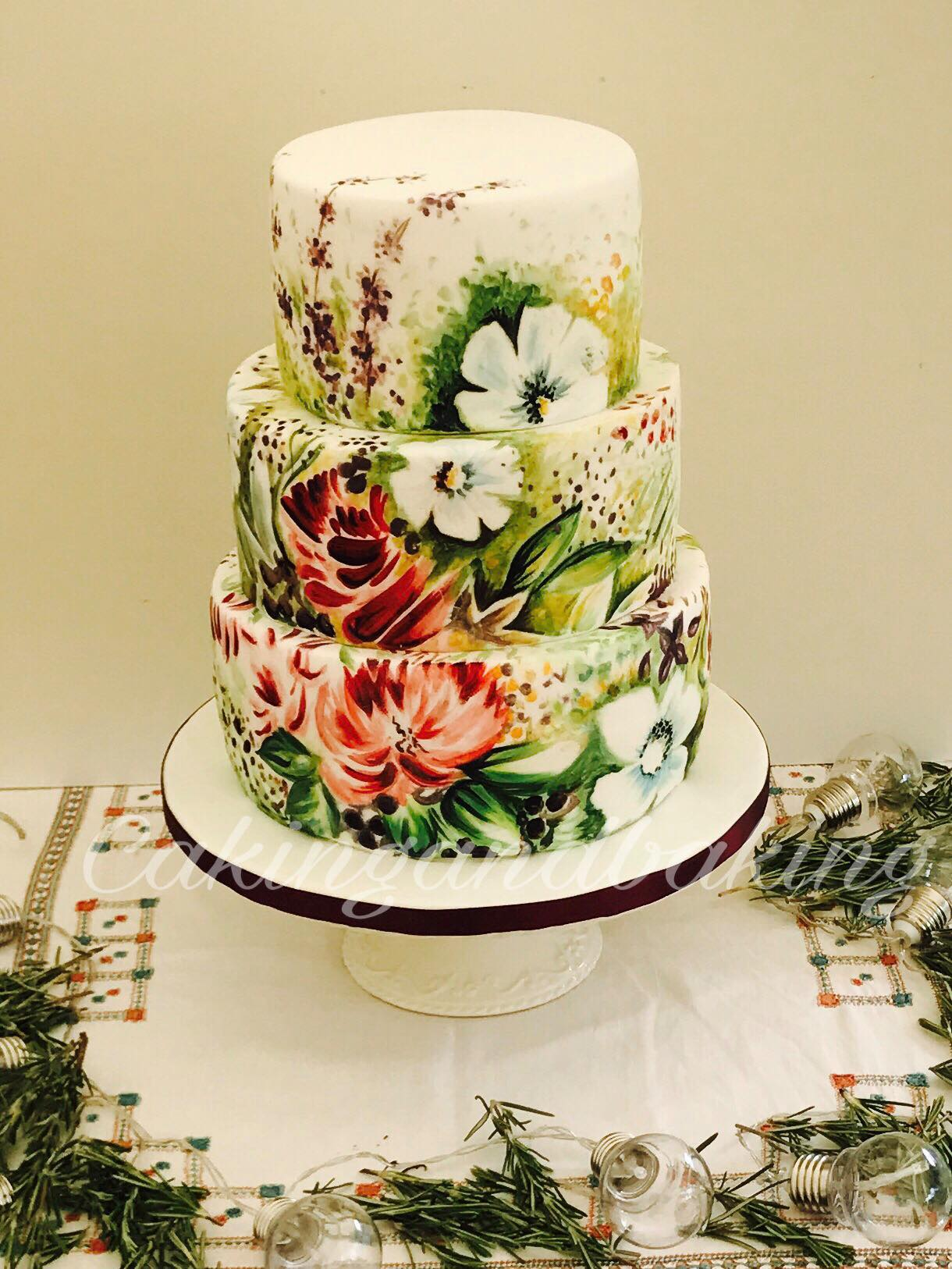 Hand Painted Rustic Wedding Cake