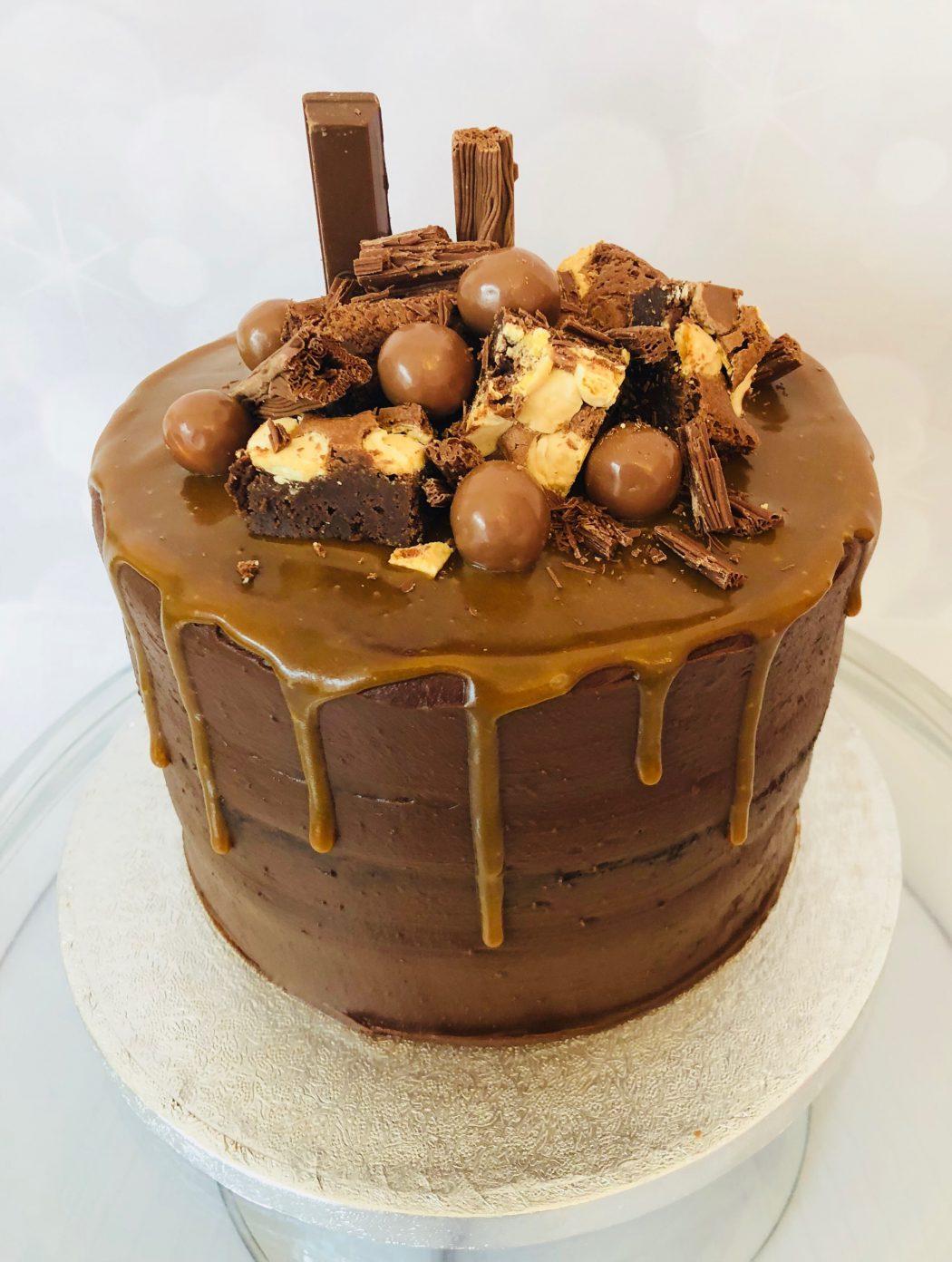 Chocolate, caramel and brownie cake