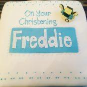 Blue vanilla Christening cake