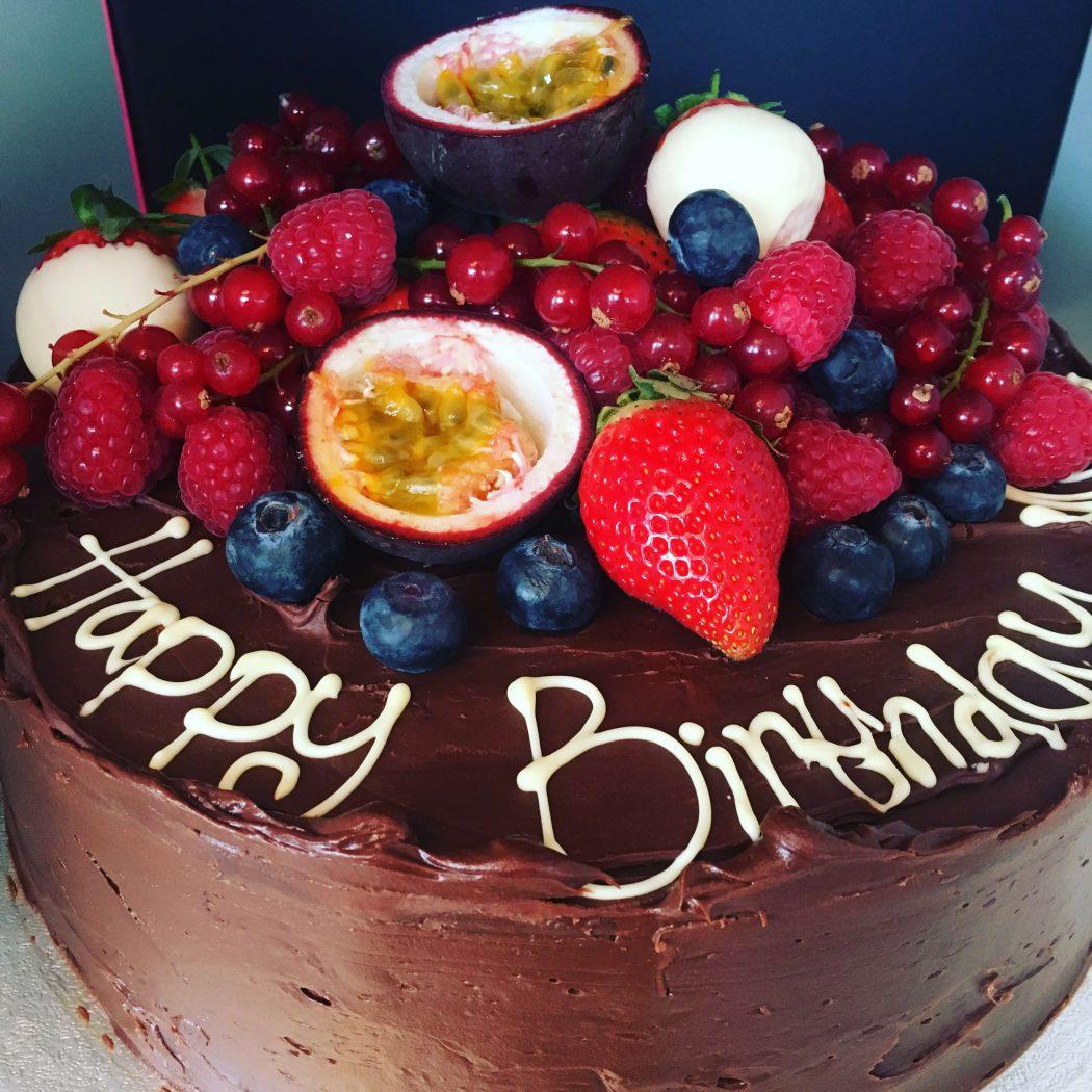Chocolate tropical fruit cake