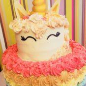Two tier Rainbow unicorn cake