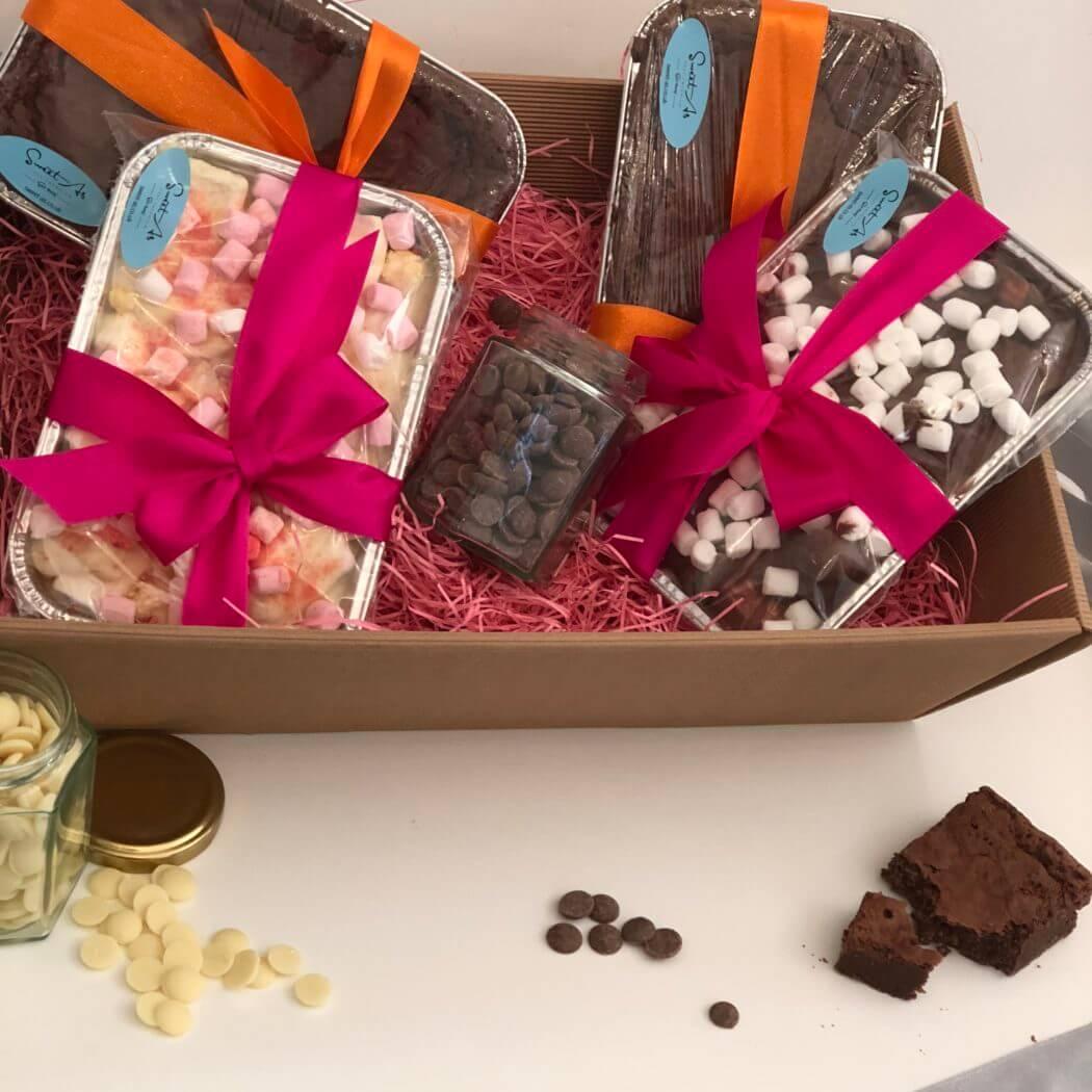 Chocoholic's dream- 2 trays of brownie, milk chocolate rocky road, white chocolate rocky road, white chocolate drops, milk chocolate drops