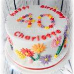 Pretty 40th Birthday Cake