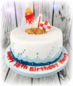 Surf Board 18th Birthday Cake