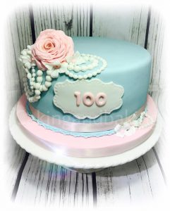 Pearls & Roses 100th Birthday Cake