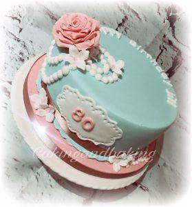Pearls & Roses 80th Birthday Cake