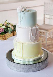 Pastel Coloured Beaded Wedding Cake
