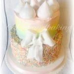 Pastel Buttercream Rainbow Sprinkle Cake With Meringue Kisses