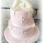 Bow Baptism Christening Cake