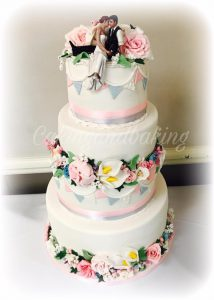 Flower and Bunting Wedding Cake