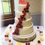 Red Rose Cascade Wedding Cake