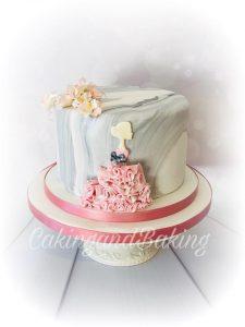 Beautiful Marble Ruffle Cake